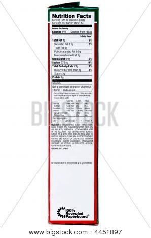 A Nuttrition Label On A Box Of Crackers On A White Background