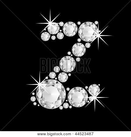 Luxury jewelry alphabet diamonds z