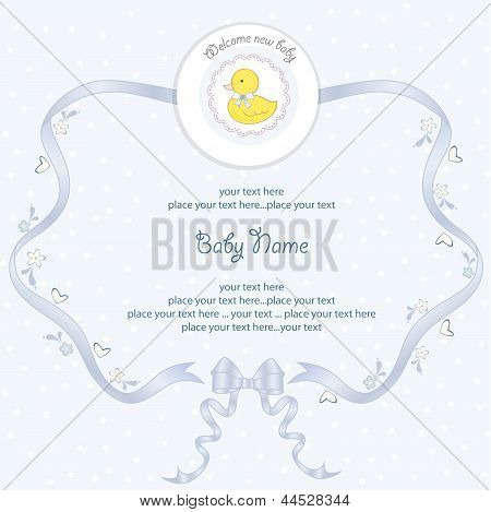 baby shower card with little duck vector illustration poster