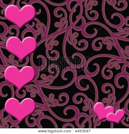 Pink Hearts Paisley Design