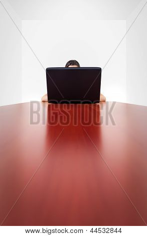 Anonymous Girl Behind Computer Laptop