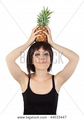 Girl Holding Pineapple Over His Head