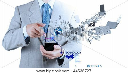 Businessman Using Mobile Phone Shows Internet And Social Network