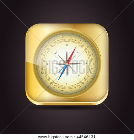 Glossy Compass App Icon With Windrose. Vector Illustration. Eps10