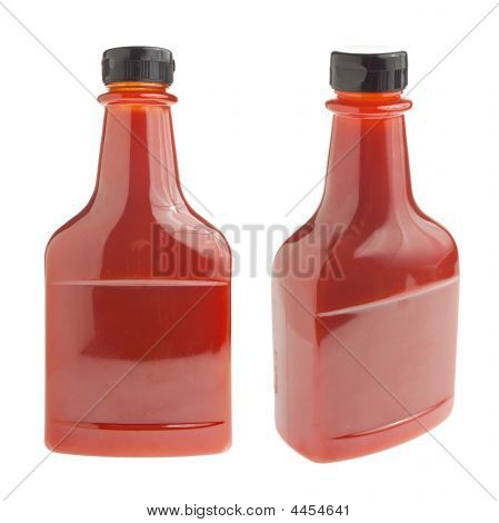 Bottle Of Ketchup On White