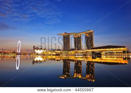 Nightscape of Singapore Marina Bay Sand and Singapore Flyer