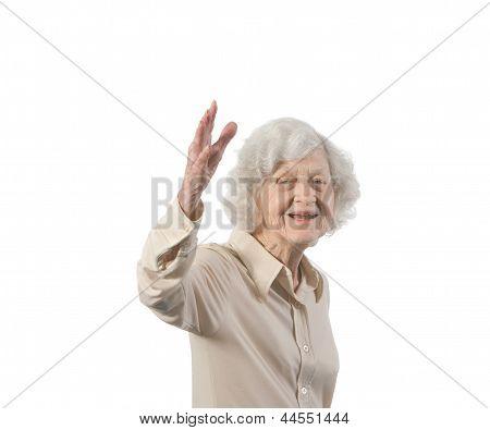 Happy Old Lady Waving