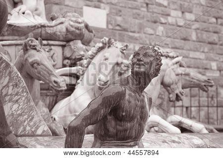 Neptune Fountain - Fontana di Nettuno by Ammannati (1565) Florence Italy in Black and White Sepia Tone poster
