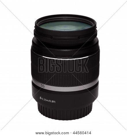 Dslr Zoom Lens With Uv Filter 18-55 Mm Isolated