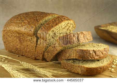 poster of Bread cut on a blurry background (horizontal)
