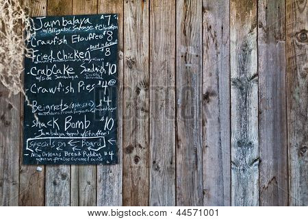 Creole Menu On Chalkboard