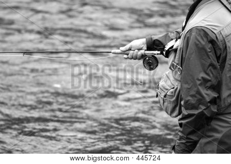 Rod & Reel In Black And White