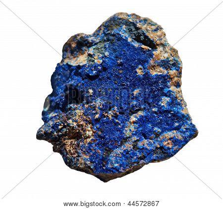 Azurite Cobalt Blue Stone Isolated On White