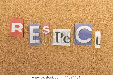 Respect Word Made From Newspaper Letter