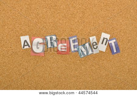 Agreement Word Made From Newspaper Letter