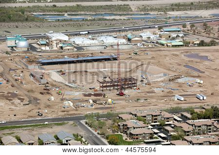 Construction of new baseball stadium in Mesa Arizona as seen from above poster