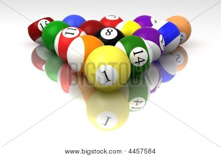Billiard Balls Isolated On White Background With Reflection
