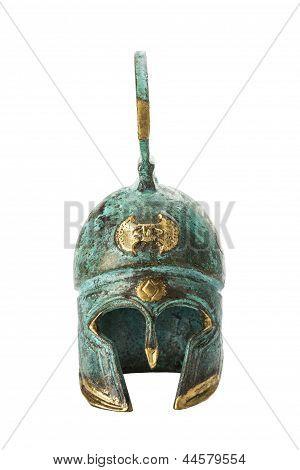 Souvenir Ancient Brass Greek Helmet Over White