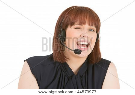 Laughing Call Centre Operator Winking