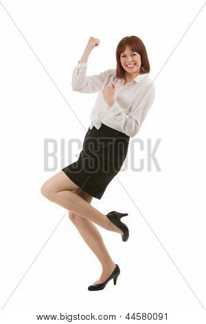 Young Businesswoman Rejoicing