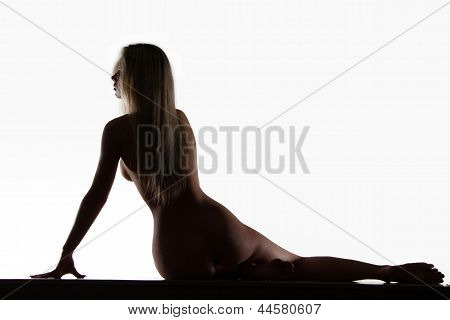 Sexy Body Woman Silhouette, Light Contours, Wet Skin