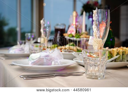 Luxury Banquet Table Setting In Restaurant Close-up