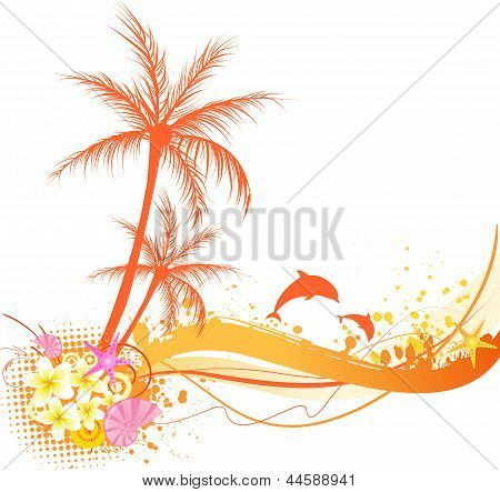 Abstract Palm Tree With Ocean Elements