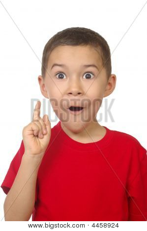 Boy Saying Ah-ha, Isolated On White