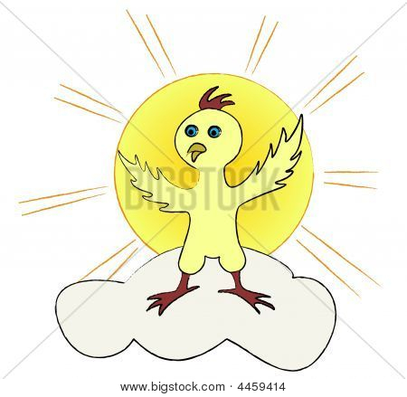 poster of Young chicken standing on a cloud with a sun behind it