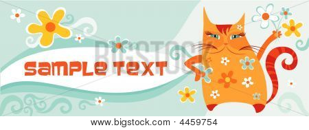 sweet postcard with a funny decorative red cat poster