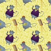 Seamless background, cartoon rats artist and singer on a floral background with stars. Vector poster