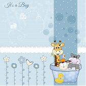 baby boy shower card, illustration in vector format poster