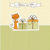 new baby announcement card with cat, illustration in vector format poster