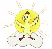 Young chicken standing on a cloud with a sun behind it poster