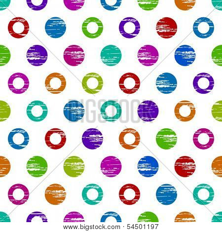 Colorful grunge circle seamless background pattern