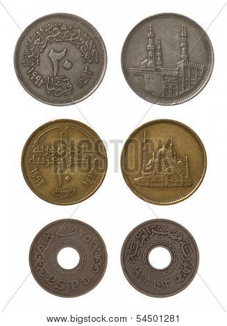 Egyptian piastres or qirsh coins isolated on white