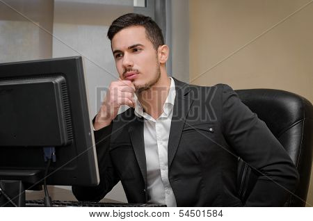 Preoccupied, Worried Young Male Office Worker