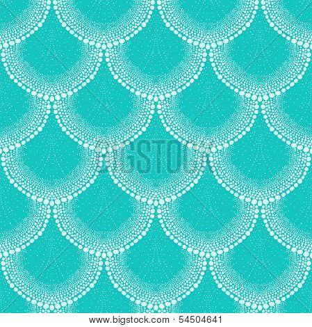Pattern in art deco style in tropical aqua blue