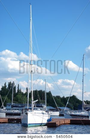 Yacht Dockage To A Pier In Sailing Club
