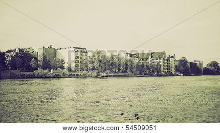 Vintage Sepia River Spree, Berlin