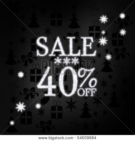 Noble Christmas Sale 40 Percent Off Symbol With Stars