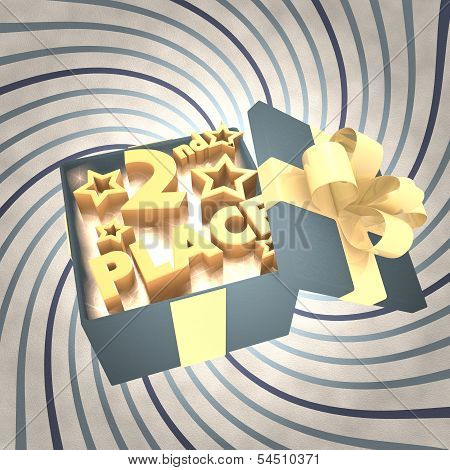 vintage 3d rendered xmas present with 2nd place icon inside on a helix vintage background poster
