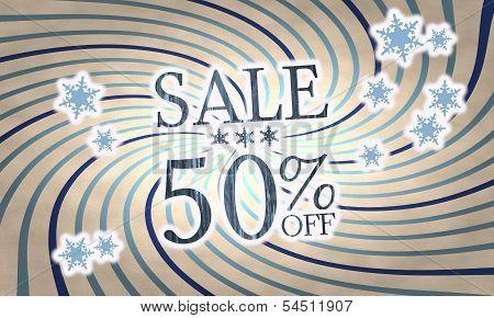 Vintage Wooden Christmas Sale 50 Percent Off Symbol