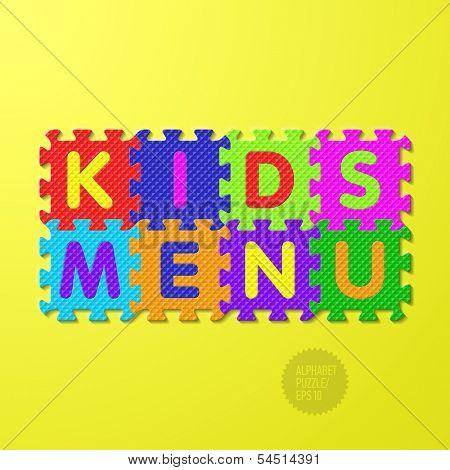 Kids Menu cover - alphabet puzzle. Vector.