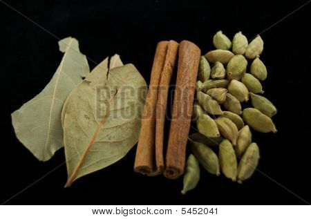 Indian Spices On Black