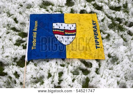 Tipperary Flag Against Grass And Snow