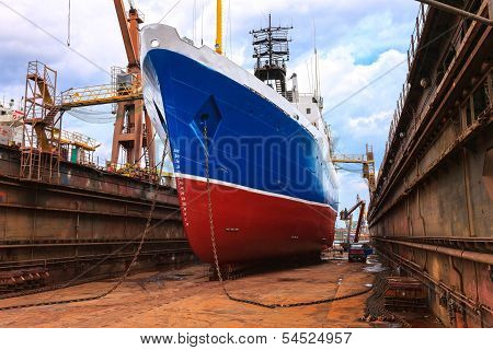 Ship In The Floating Dock