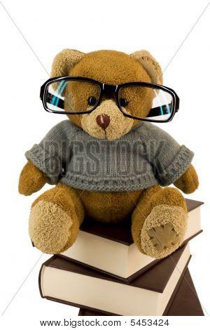 Oso de peluche, gafas y pila de viejos libros
