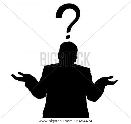 Business Man Shrug Silhouette Vector