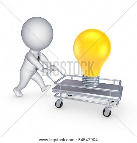 3d person with pushcart and yellow lamp.